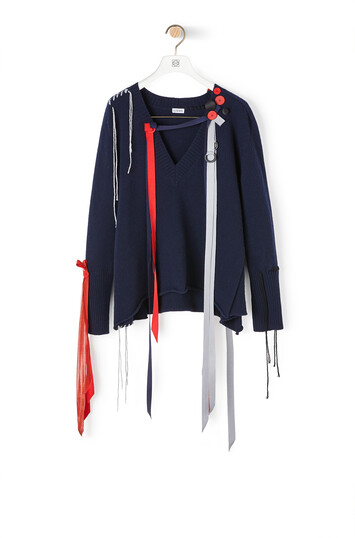 LOEWE Vneck Sweater Ribbons Navy Blue front