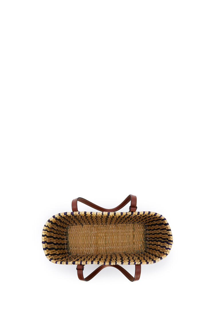 LOEWE Square Basket Bag In Reed And Calfskin Natural/Black/Pecan pdp_rd