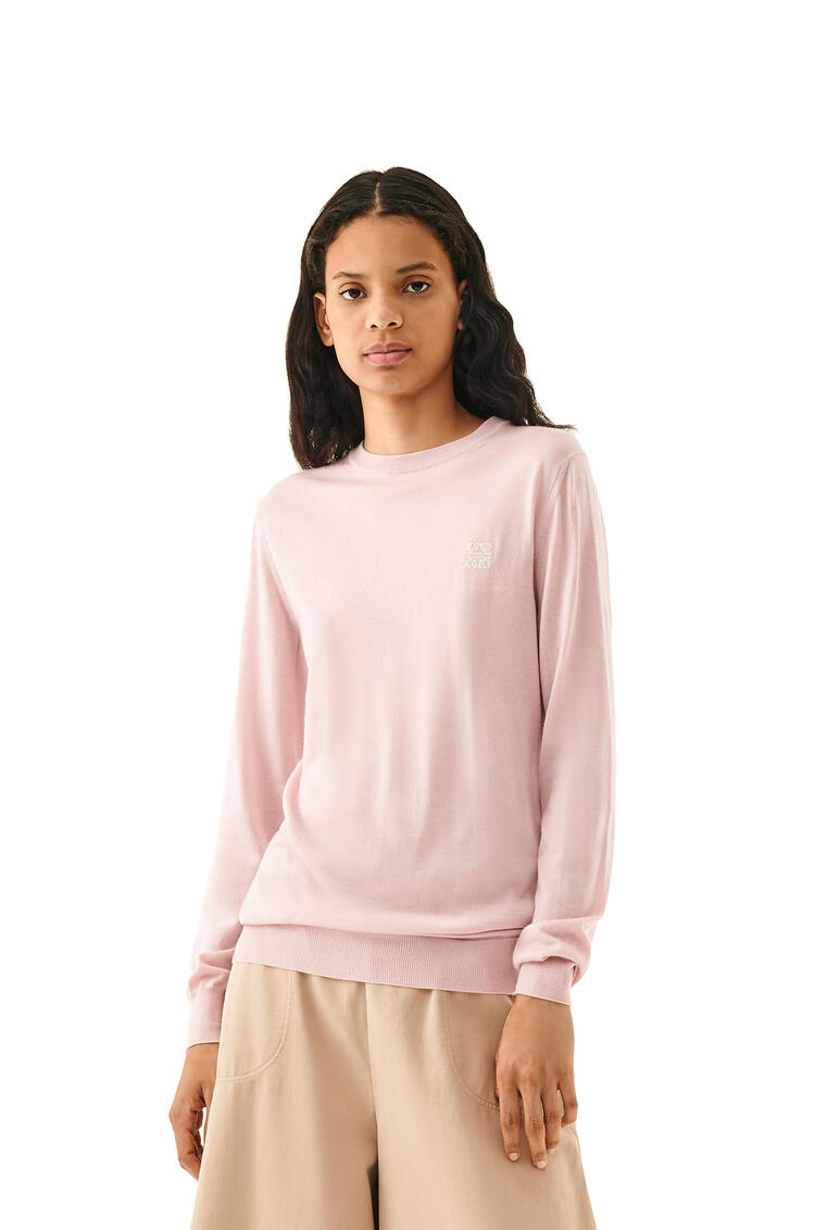 LOEWE Anagram Embroidered Sweater In Cashmere Baby Pink pdp_rd