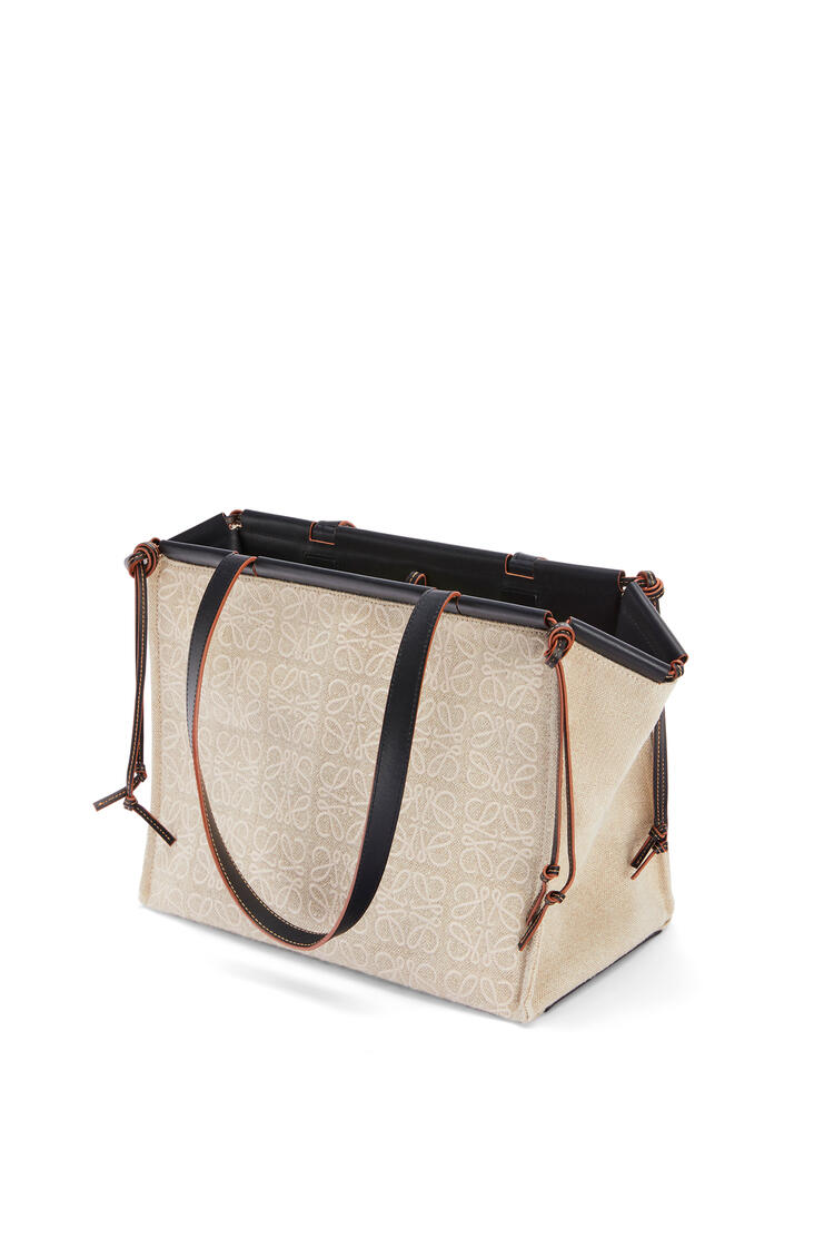 LOEWE Cushion tote bag in anagram linen and calfskin Natural/Black pdp_rd