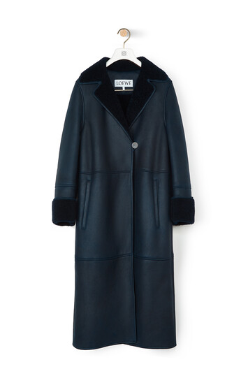LOEWE Shearling Coat Navy Blue/Navy Blue front