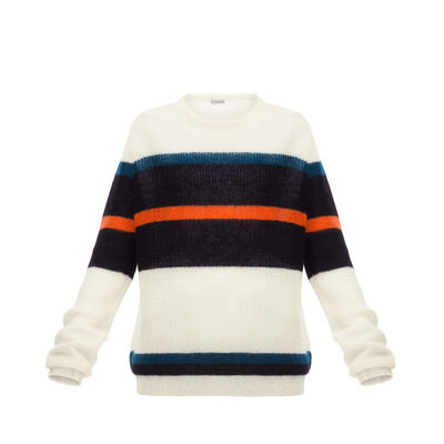 LOEWE Stripe Mohair Sweater White front