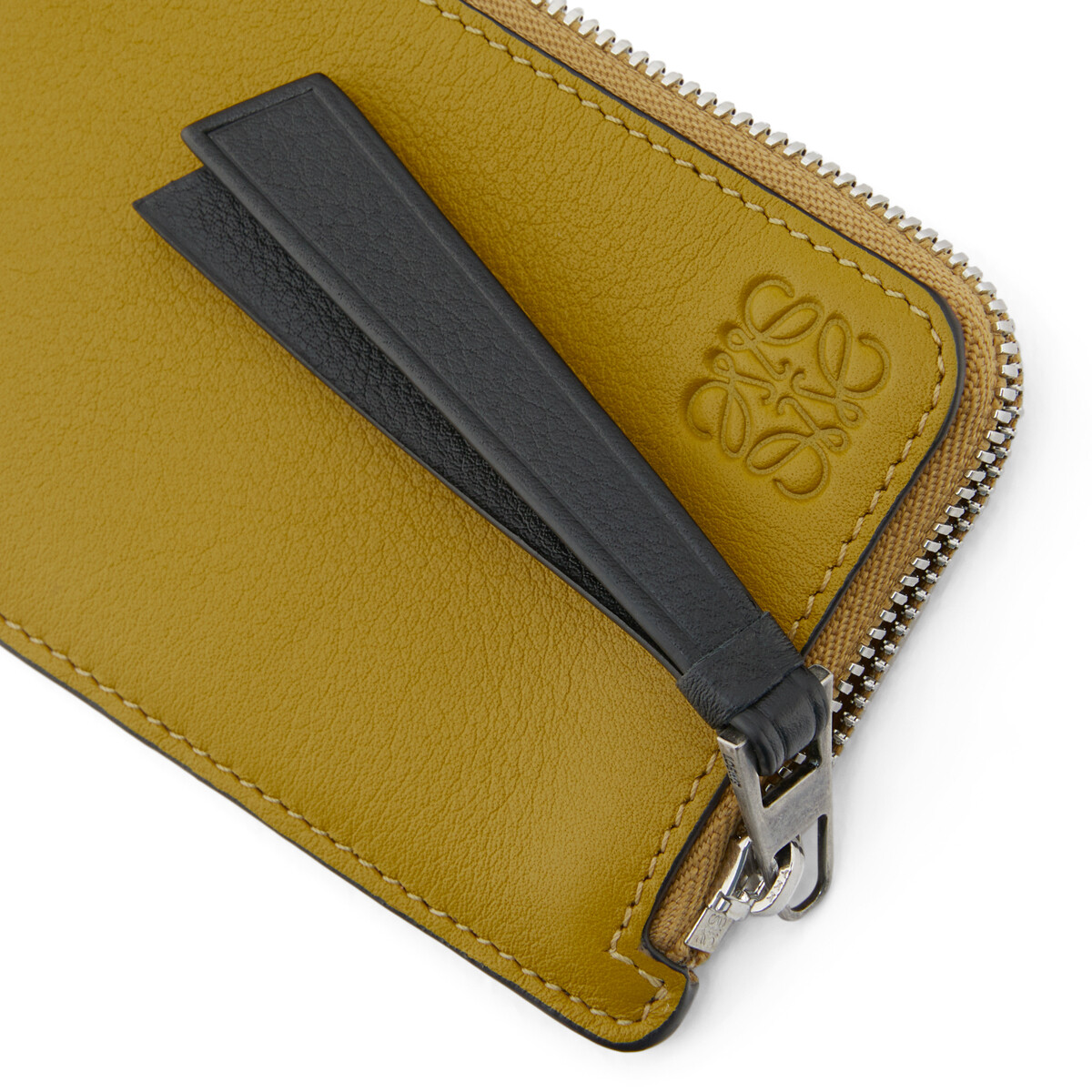 LOEWE Coin Cardholder Bicolor Ochre/Taupe front