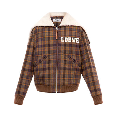 LOEWE Zip Shearling Hood Check Jkt Brown/Multicolor front