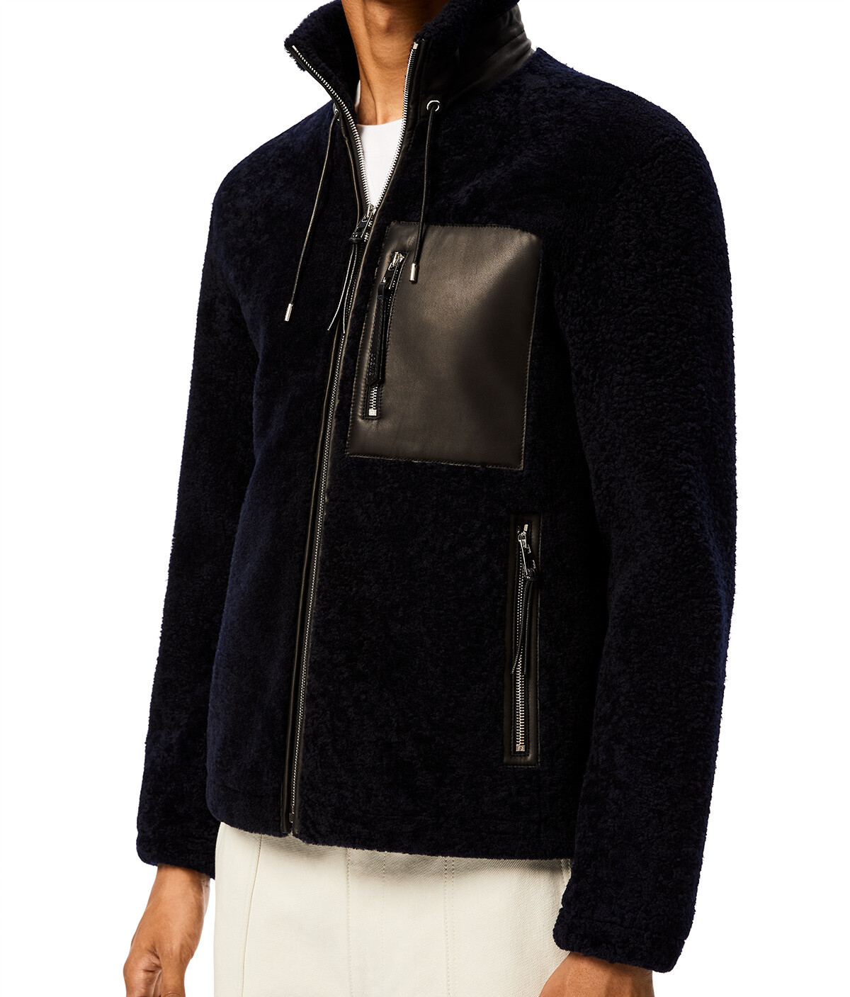 LOEWE Shearling Jacket Navy Blue/Black front