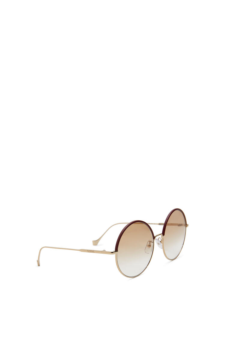 LOEWE Round Sunglasses in metal and calfskin Burgundy/Blush pdp_rd