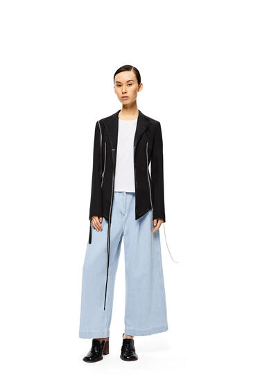 LOEWE Drawstring Cropped Trousers In Cotton Light Blue pdp_rd