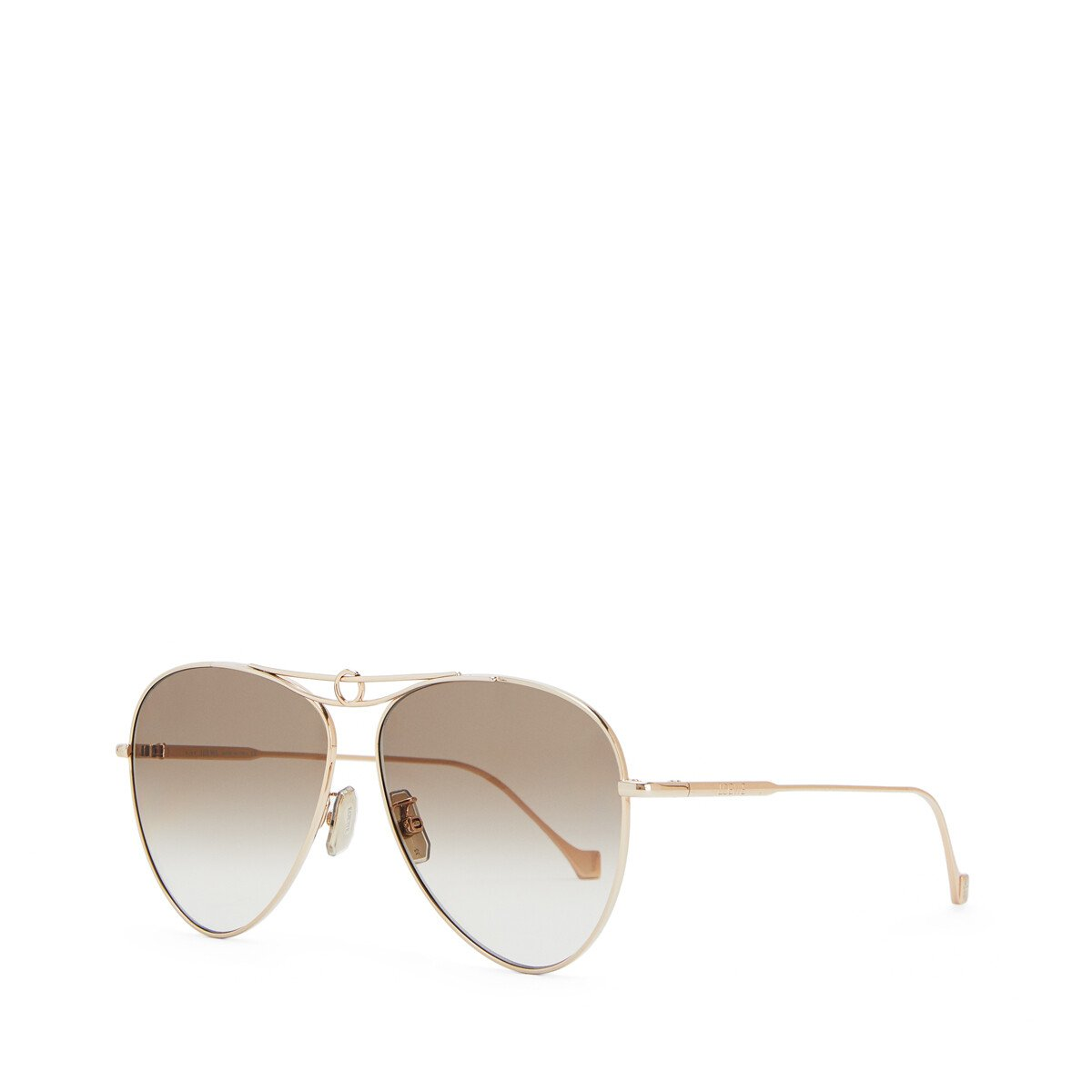 LOEWE Metal Knot Pilot Sunglasses Rose Gold/Brown front