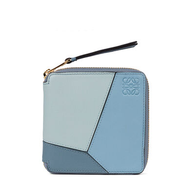 LOEWE Puzzle Square Zip Wallet Aqua/Light Blue/Stone Blue front