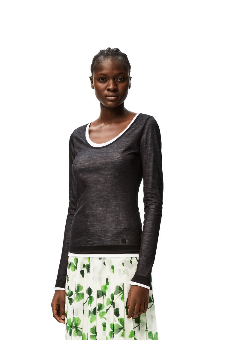 LOEWE Double layer scoop neck top in cotton Black/White pdp_rd