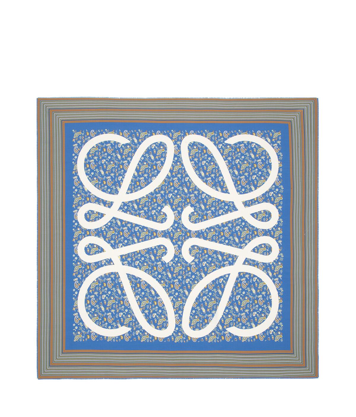 LOEWE 140X140 Scarf Paisley Anagram Azul Petroleo all