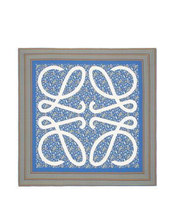 LOEWE 140X140スカーフペイズリーアナグラム ペトロリウムブルー front