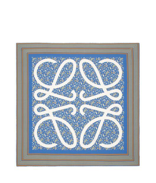 LOEWE 140X140 Scarf Paisley Anagram Azul Petroleo front