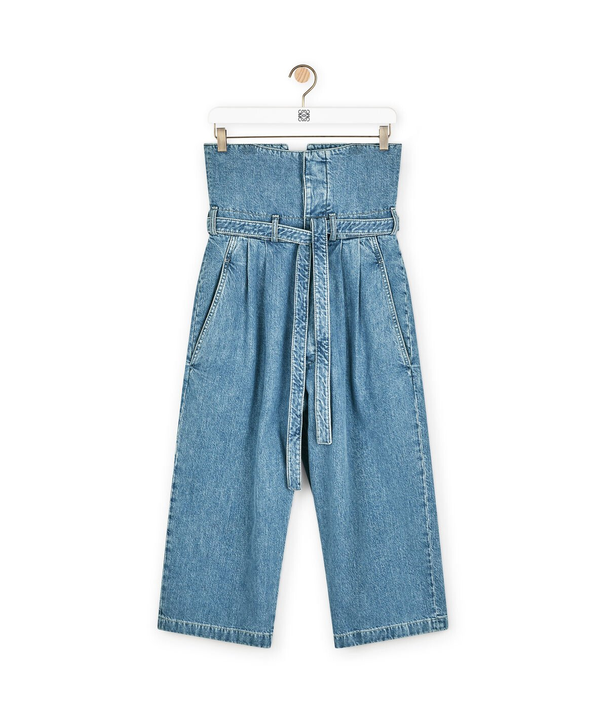 LOEWE Belted Pleated Oversize Jeans Azul Denim front