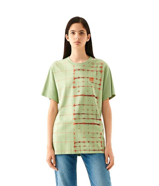 LOEWE Check Anagram T-Shirt Green/Yellow front
