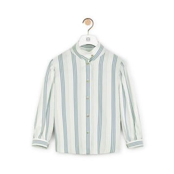 LOEWE Stripe Silk Short Slv Blouse Navy/White front