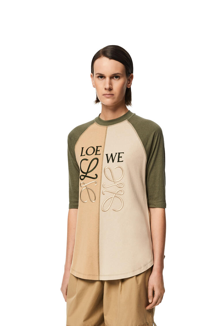 LOEWE Anagram slim T-shirt in cotton and silk Khaki Green/Beige pdp_rd