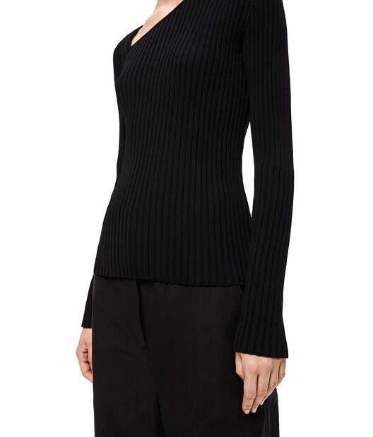 LOEWE Ribbed Asymmetric Collar Sweater Black front