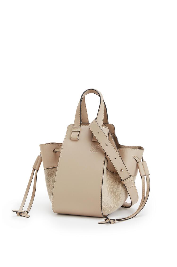 LOEWE Small Hammock Drawstring Bag In Calfskin And Linen Light Oat pdp_rd
