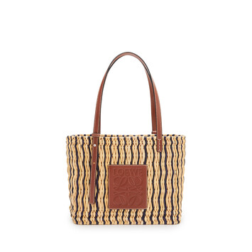 LOEWE Small Square Basket Bag In Reed And Calfskin Natural/Black/Pecan front