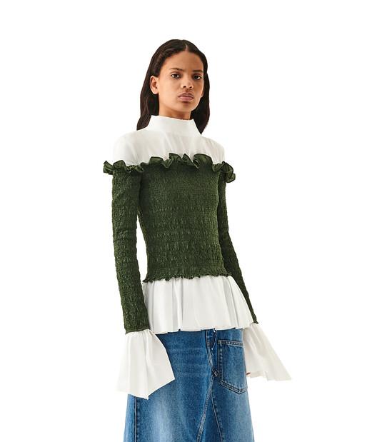 LOEWE Smock Top Khaki Green/White front