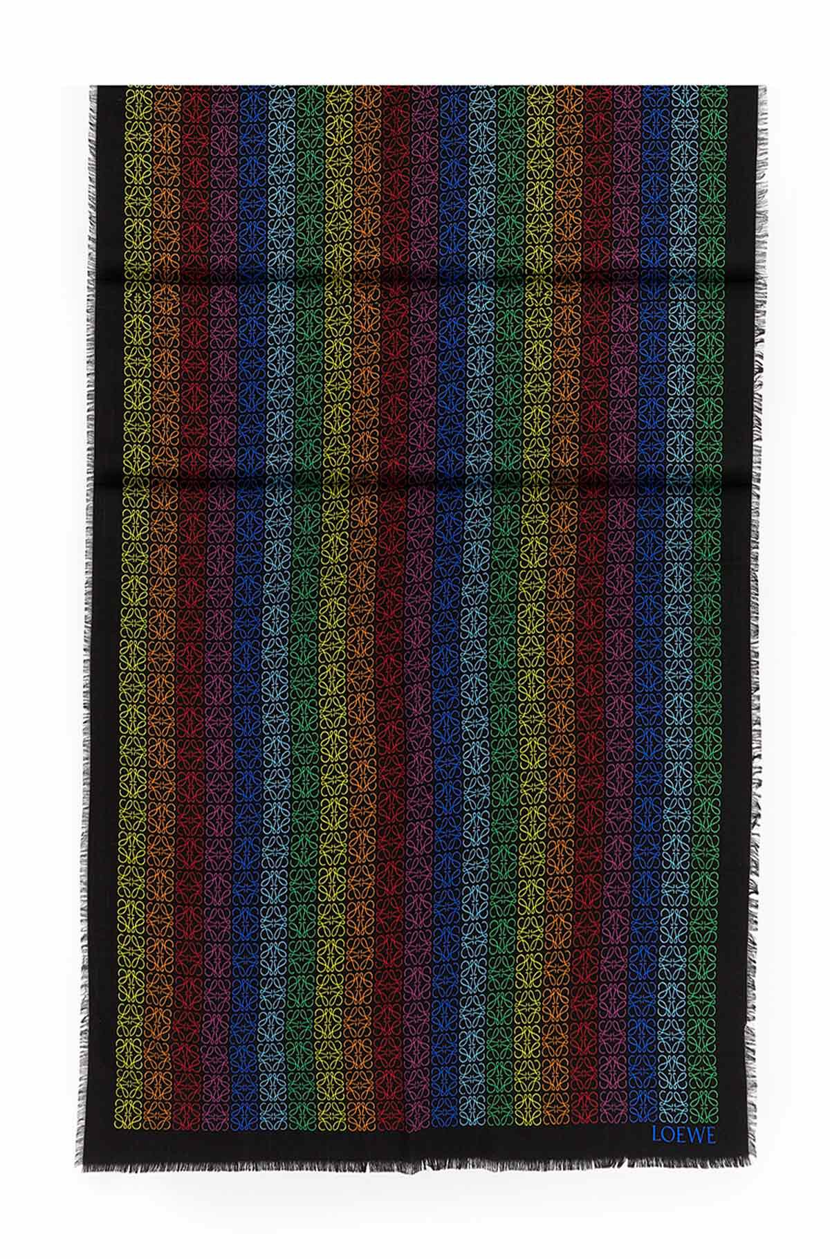LOEWE 70X200 Scarf Anagram In Lines Negro/Multicolor all