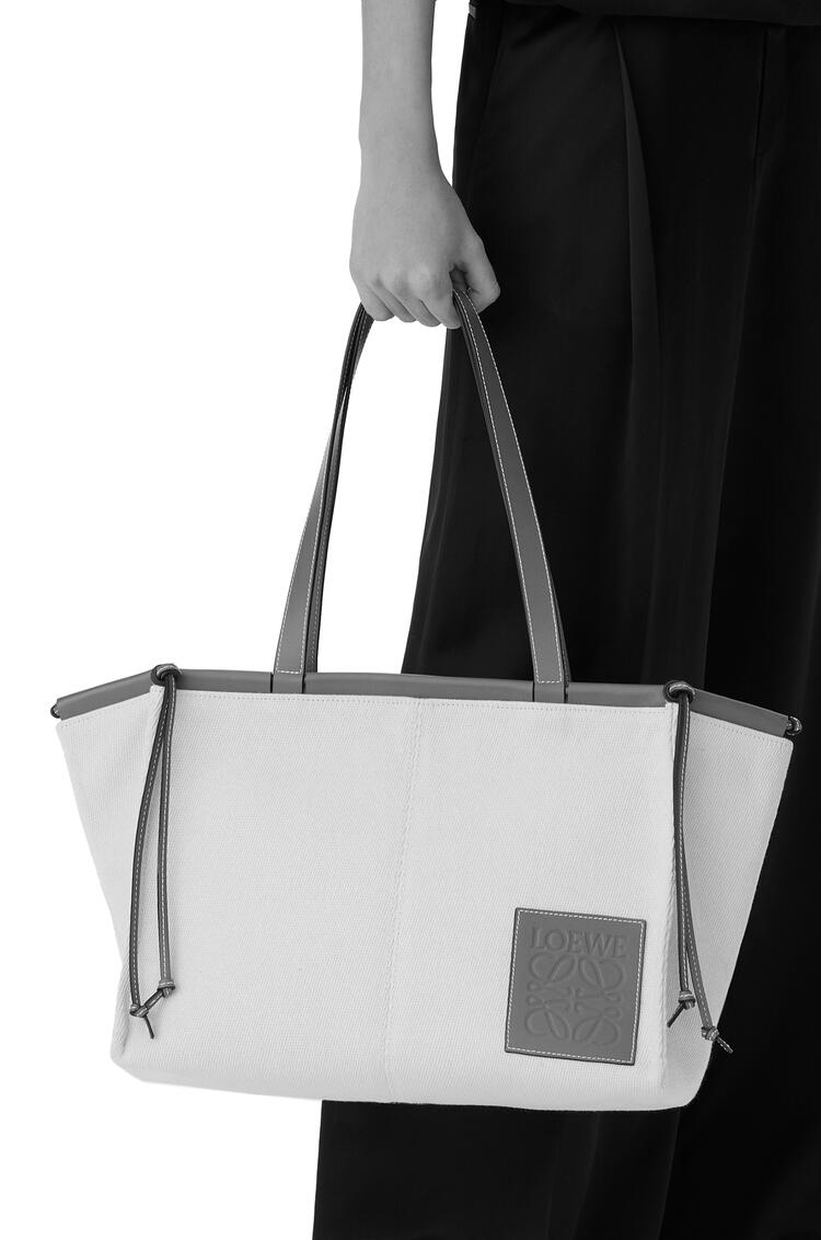 LOEWE Cushion tote bag in canvas and calfskin White/Primary Red pdp_rd