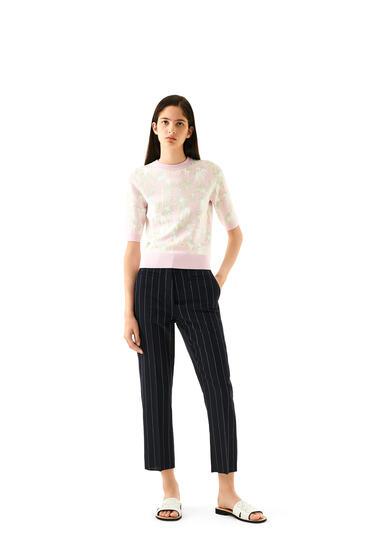 LOEWE Cropped Sweater In Jacquard Viscose Pink/Light Green pdp_rd