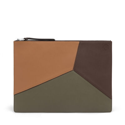 LOEWE Large Puzzle Flat Pouch Choc Brown/Khaki Green/Tan front