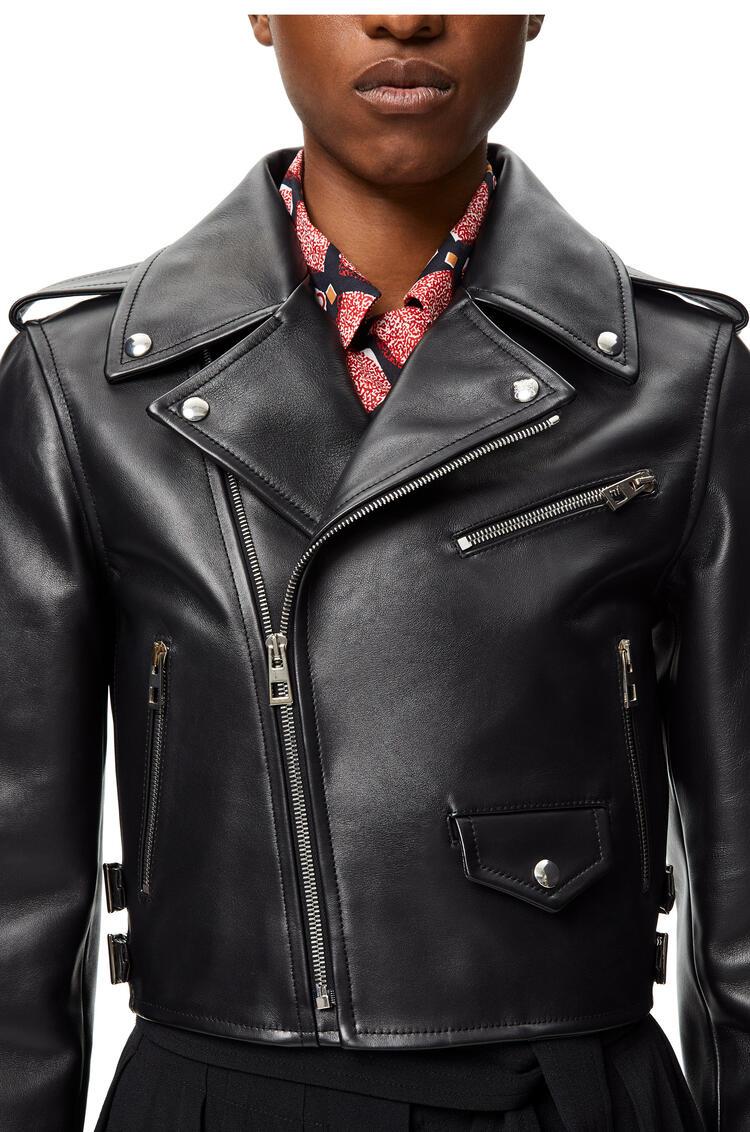 LOEWE Cropped biker jacket in calf Black pdp_rd