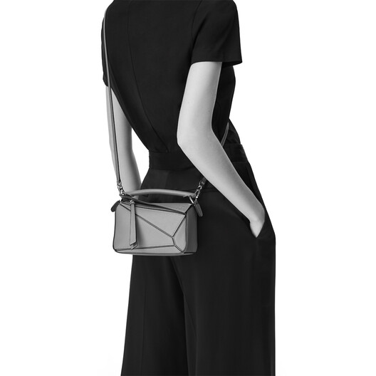 LOEWE Puzzle Mini Bag Dark Lagoon/Black front