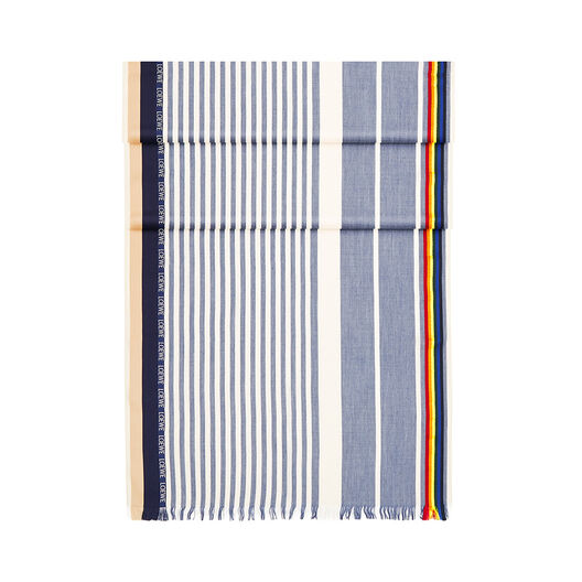 LOEWE 70X200 Scarf Rainbow Stripes Sky-Blue/Beige all