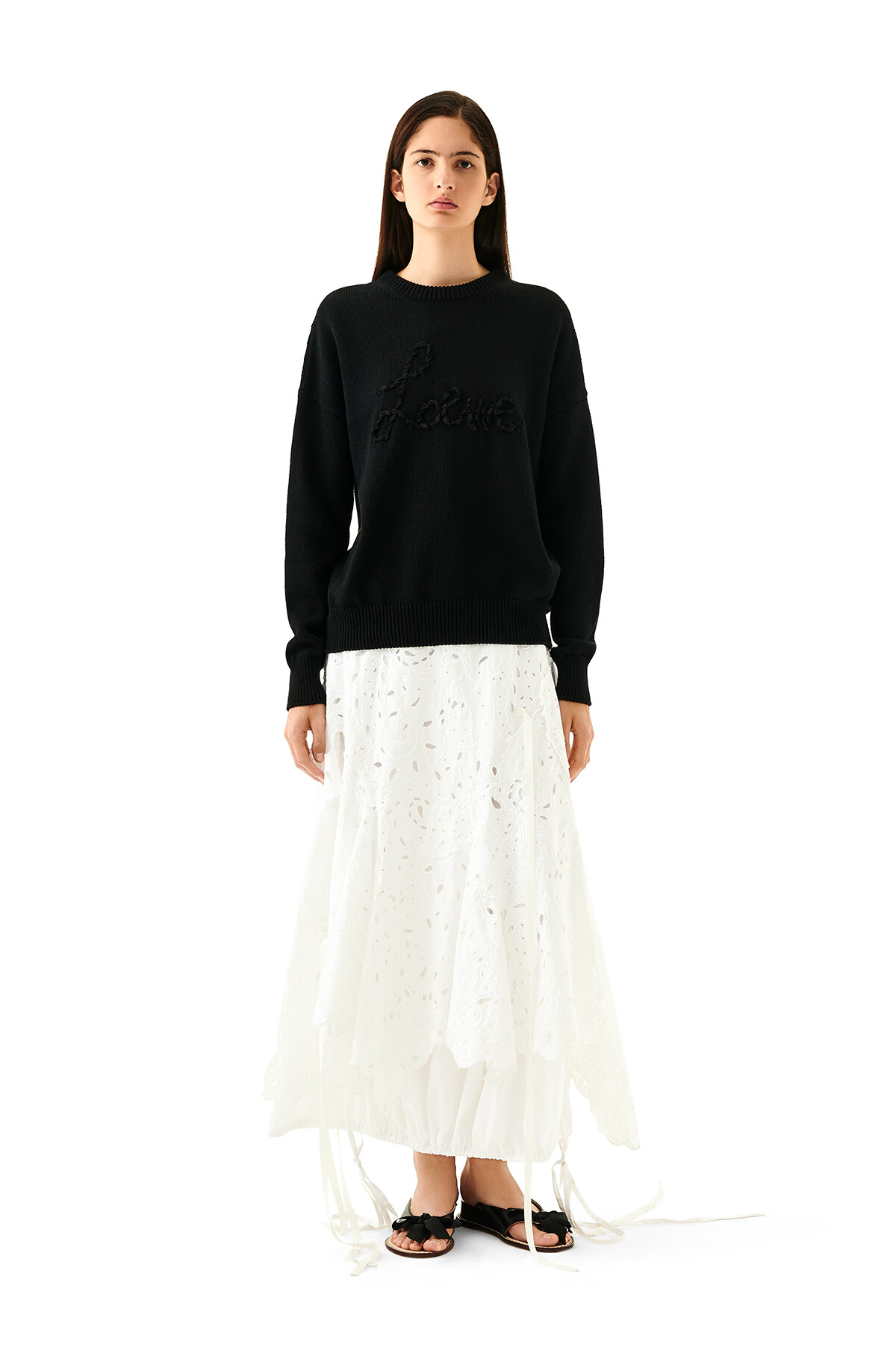 LOEWE Skirt Broderie Anglaise White front