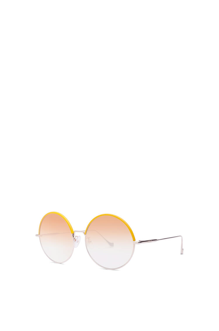 LOEWE Round Sunglasses in metal and calfskin Yellow/Gradient Yellow pdp_rd