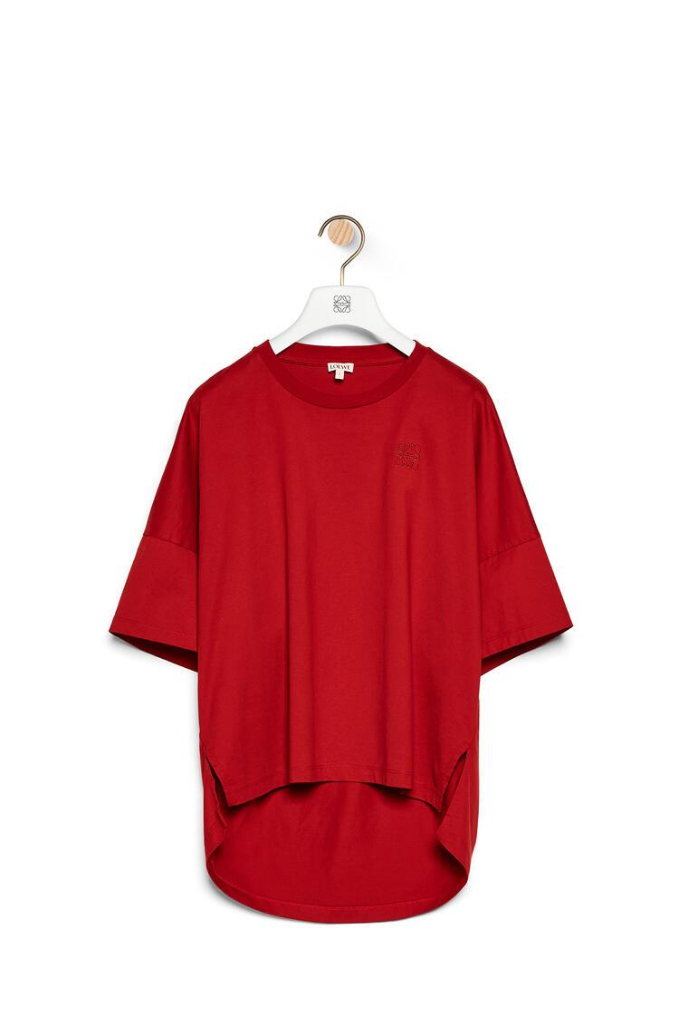 LOEWE Camiseta cropped en algodón con anagrama bordado Rojo pdp_rd