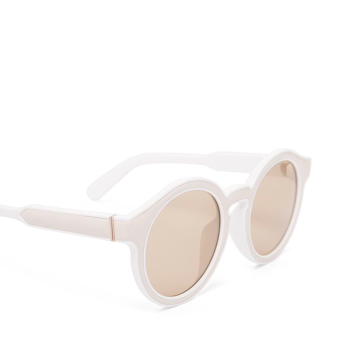 LOEWE Round Padded Sunglasses White/Light Brown front