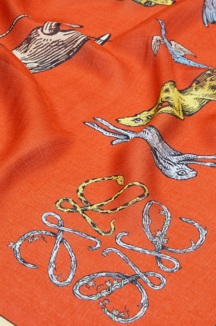 LOEWE 140 x 140 cm alphabet scarf in modal and cashmere Orange/Multicolor pdp_rd