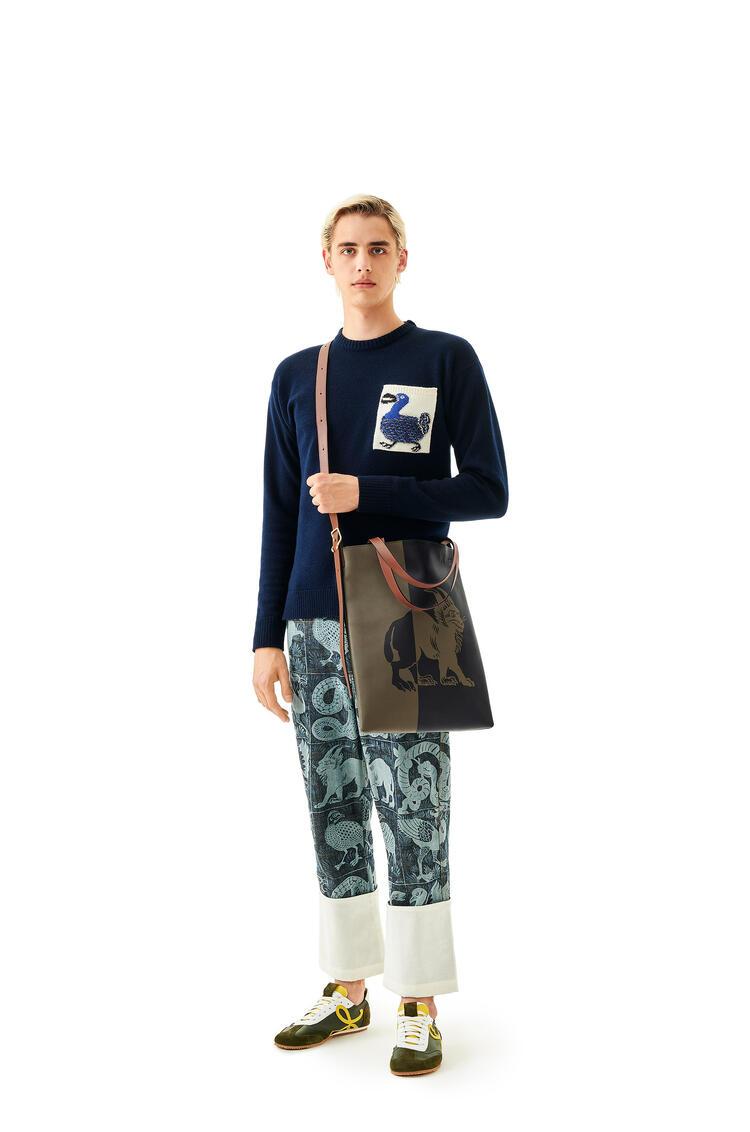 LOEWE Vertical Tote Herald bag in calfskin Khaki Green/Black pdp_rd