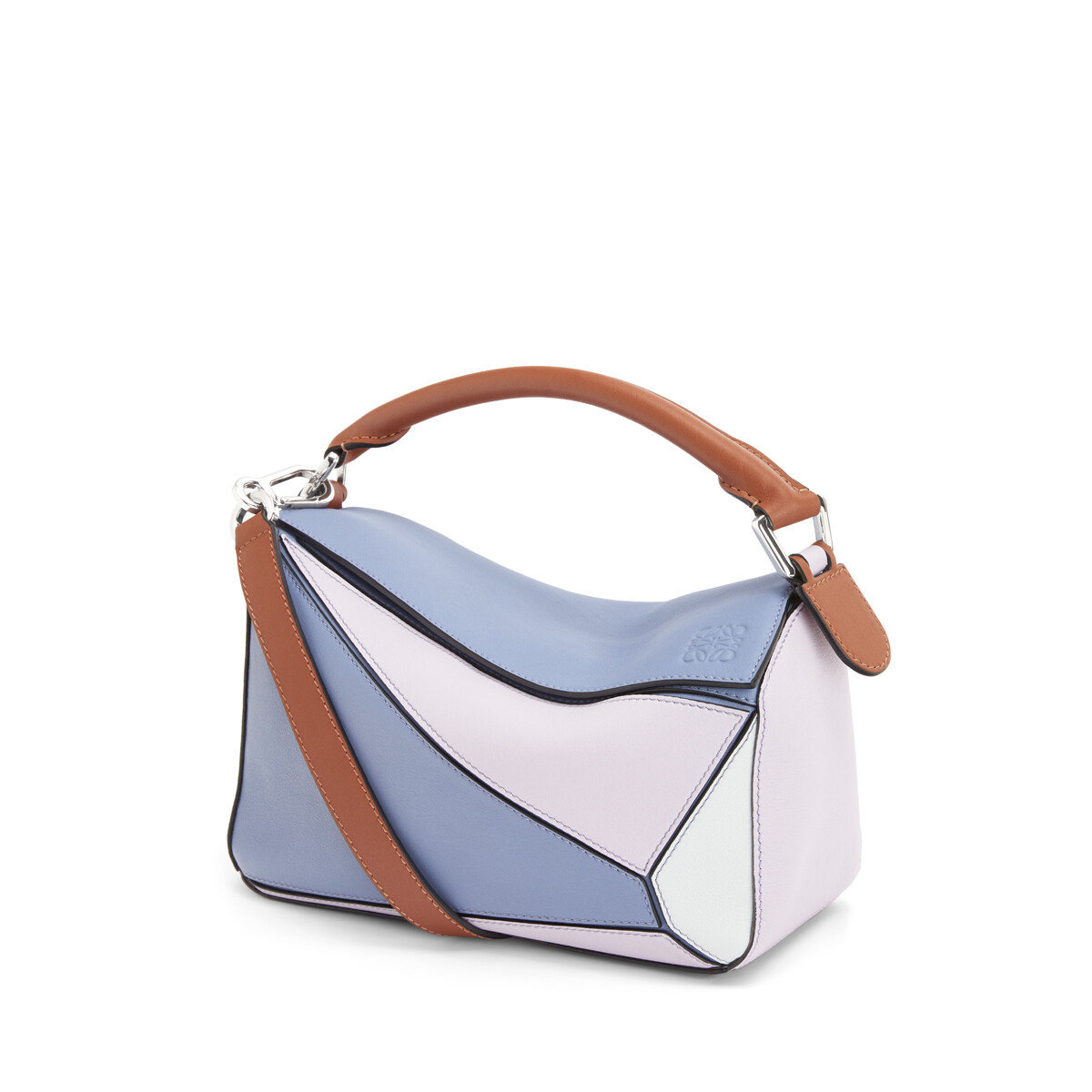 LOEWE Small Puzzle Bag In Classic Calfskin Blueberry/Kaolin front