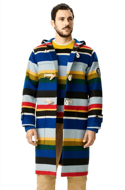 LOEWE Eln Stripe Duffle Coat Multicolor front