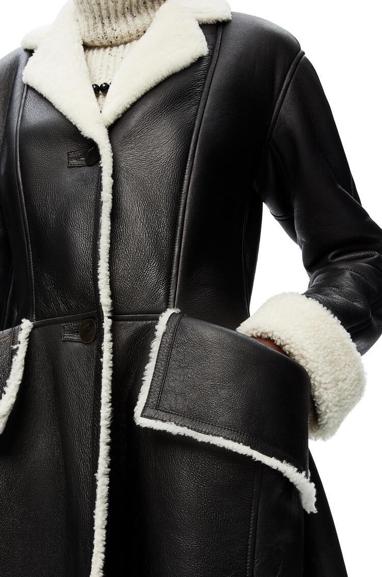 LOEWE Flap pocket shearling coat in shearling Black pdp_rd
