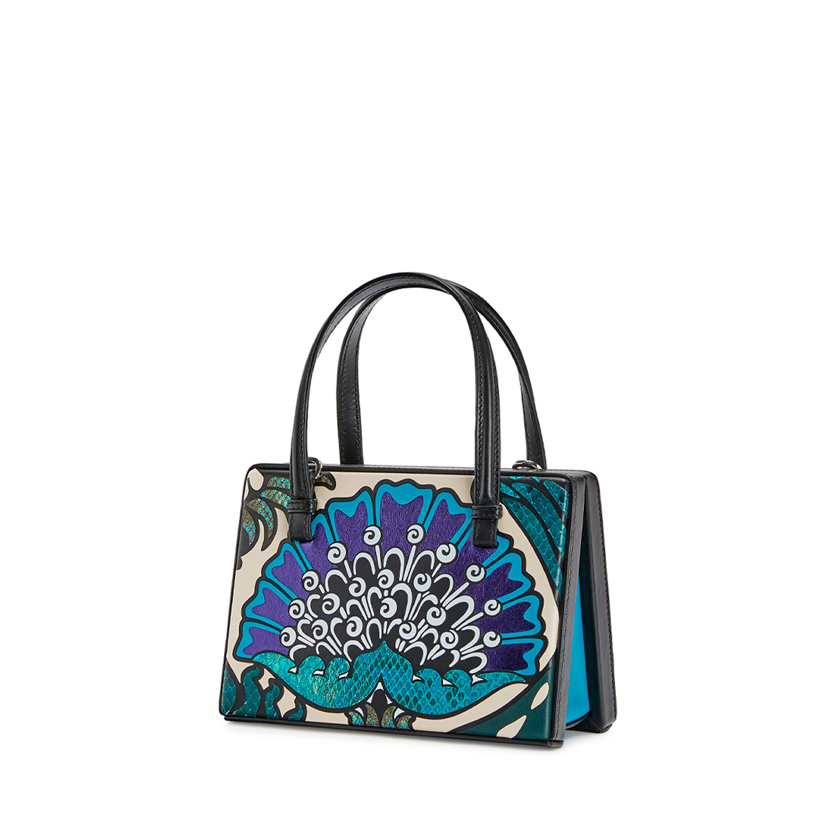 LOEWE Postal Floral Small Bag Peacock Blue front