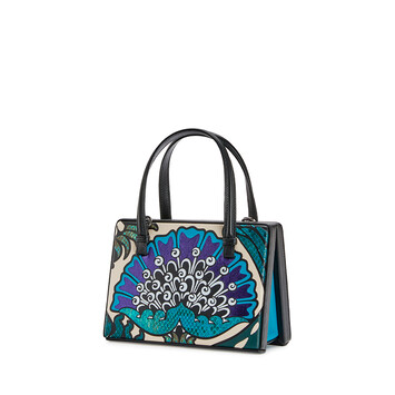LOEWE Bolso Postal Floral Pequeño Azul Pavo Real front