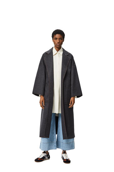LOEWE 超大号羊绒和真丝束腰外套 麻灰色 pdp_rd