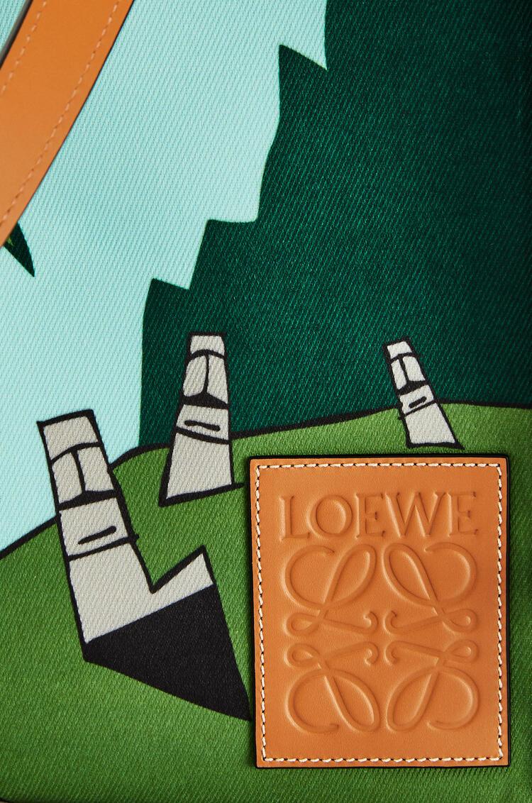 LOEWE Bolso tote Easter Island Cushion en lona y piel de ternera Menta/Multicolor pdp_rd