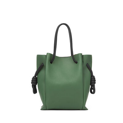 LOEWE Flamenco Knot Tote Small Bag Forest Green/Black front