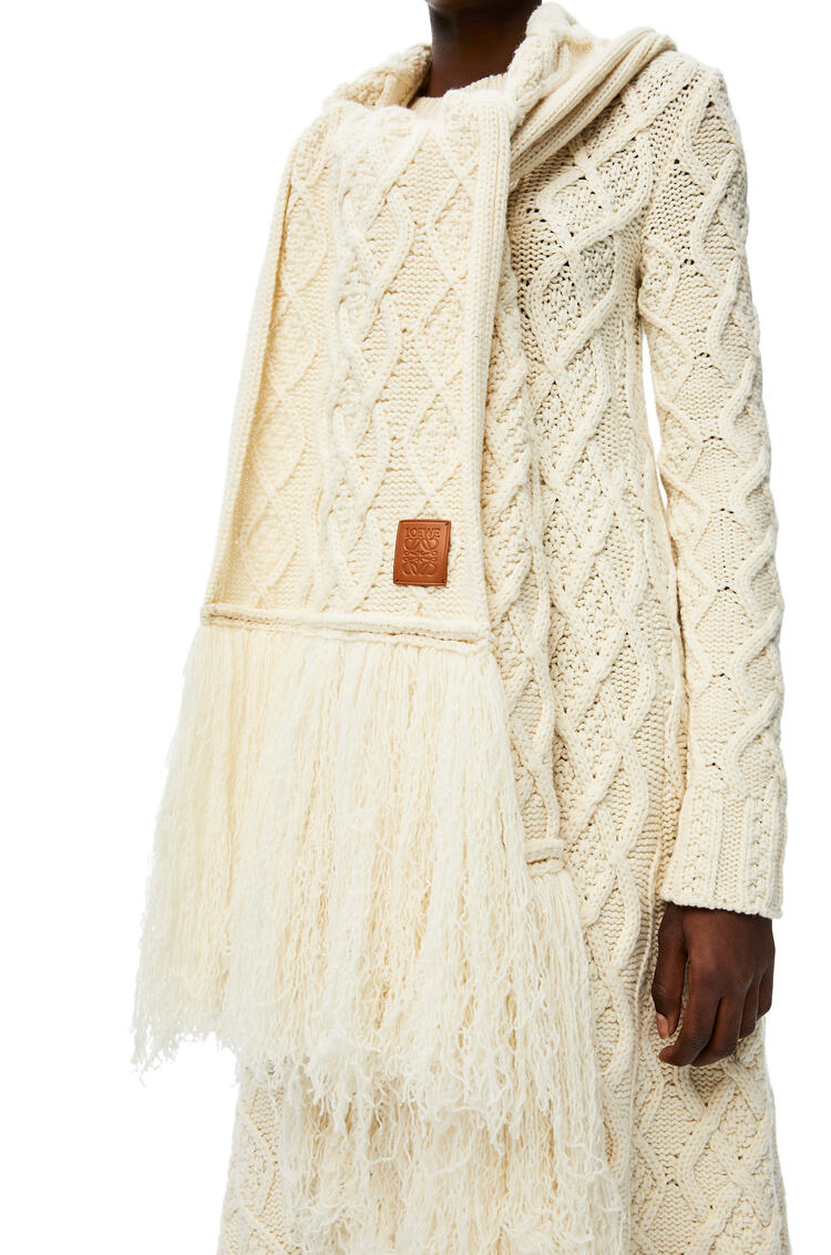 LOEWE Cable knit scarf in cashmere Off-white pdp_rd