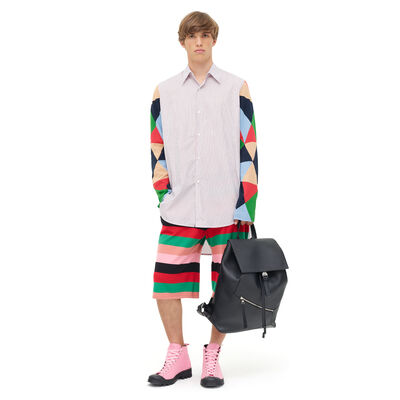 LOEWE Patchwork Sleeve Stripe Shirt Multicolor front