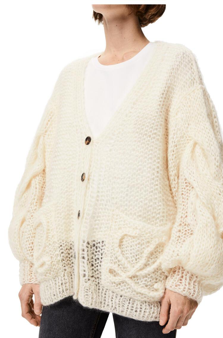 LOEWE Anagram knitted cardigan in mohair Ecru pdp_rd
