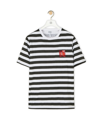 LOEWE Stripe T-Shirt Loewe Dodo Embroidered White/Black front